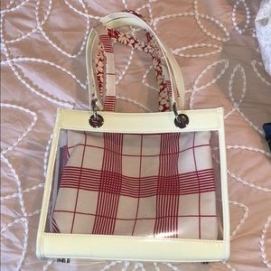 Burberry clear tote. Reversible/ removable fabric